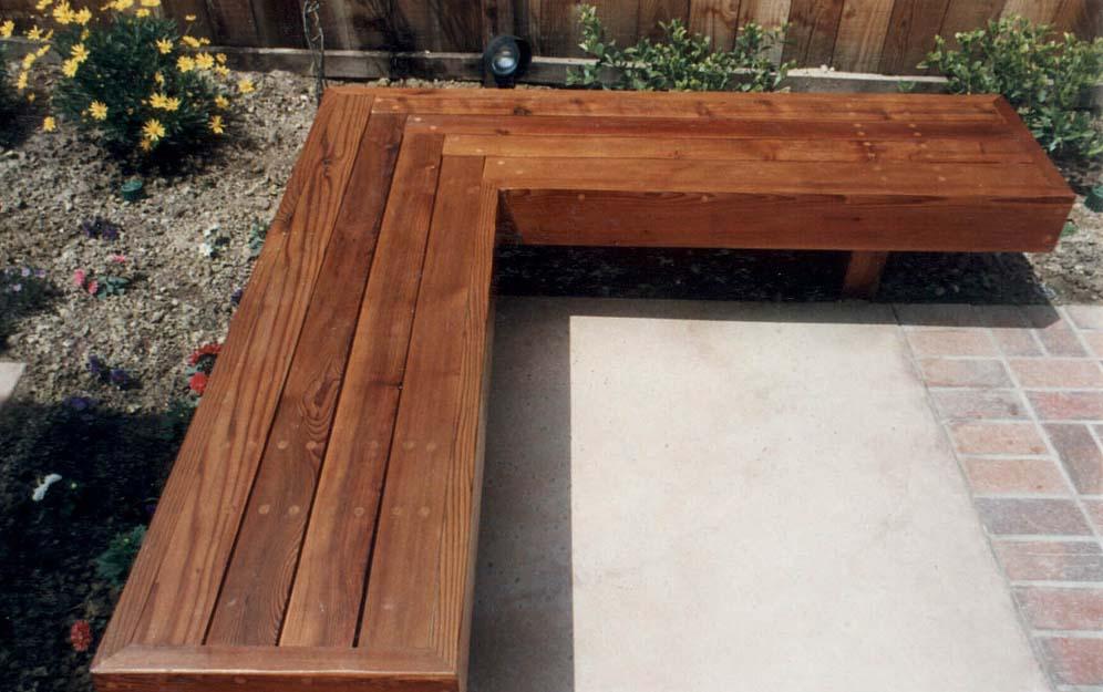 L Shaped Redwood Bench